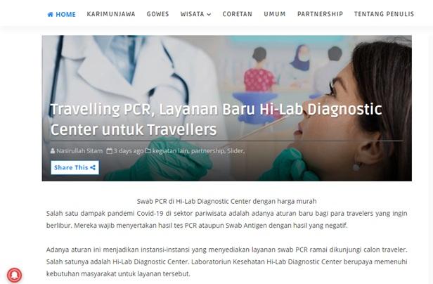 Travelling PCR, Layanan Baru Hi-Lab Diagnostic Center untuk Travellers
