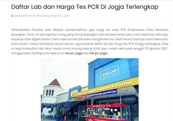 Daftar Lab dan Harga Tes PCR Di Jogja Terlengkap