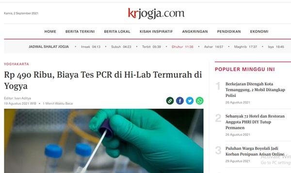 Rp 490 Ribu, Biaya Tes PCR di Hi-Lab Termurah di Yogya
