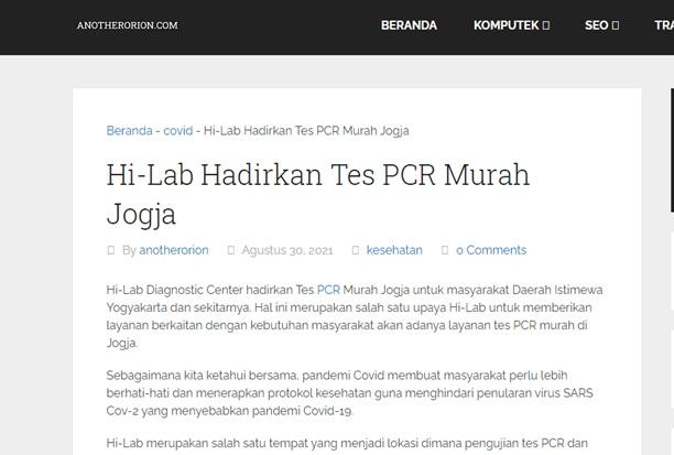 Hi-Lab Hadirkan Tes PCR Murah Jogja