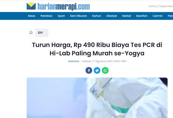 Turun Harga, Rp 490 Ribu Biaya Tes PCR di Hi-Lab Paling Murah se-Yogya
