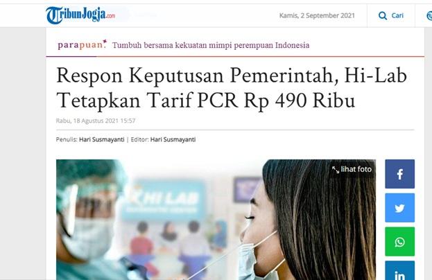 Respon Keputusan Pemerintah, Hi-Lab Tetapkan Tarif PCR Rp 490 Ribu