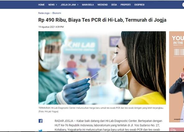Rp 490 Ribu, Biaya Tes PCR di Hi-Lab, Termurah di Jogja